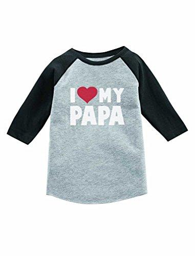 I Love Heart My Papa 3/4 Sleeve Baseball Jersey Toddler Shirt 5/6 Dark Gray