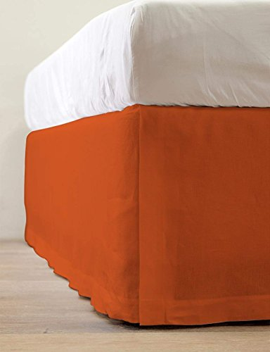 """USA BEDDING Top Selling Bed Skirt On Amazon (550-TC) Soft Egyptian Cotton One Piece Queen Size Bed Skirt Perfect Drop Length (8"""" Inch) Split Cornor Tailored Bed Skirt Solid Pattern (Orange Color)"""