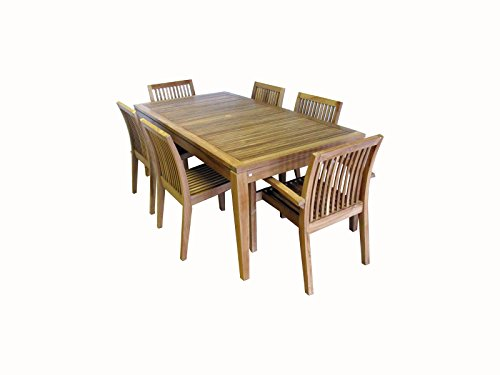Ohana 7-Piece Outdoor Patio Furniture Teak Dining Set with Beige Cushions