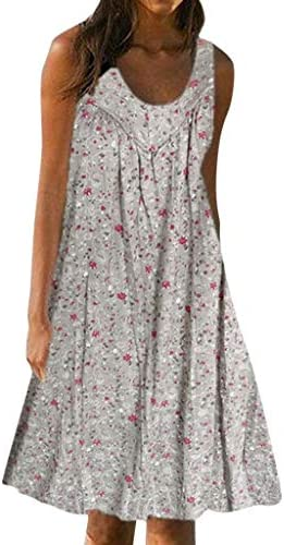 Quealent Dresses for Women Casual Summer,Floral Printed Sleeveless Cocktail Party Mini Dress A Line Beach Sundress