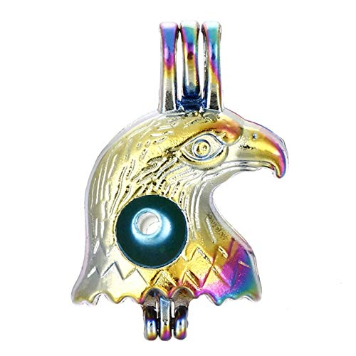 - 10pcs Rainbow Color Eagle Pearl Cage Beads Cage Locket Pendant DIY Jewelry Making Accessories-for Oyster Pearls, Essential Oil Diffuser, Fun Gifts (Eagle)