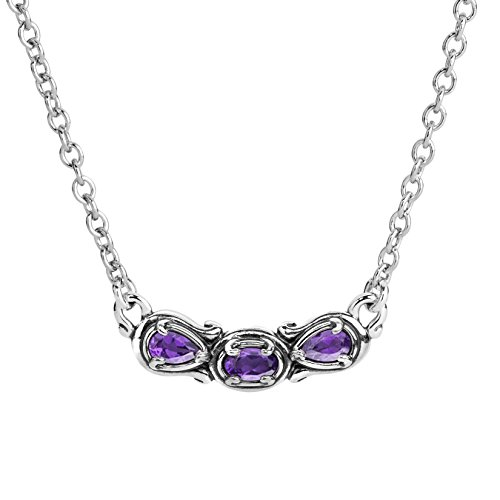Carolyn Pollack Sterling Silver Purple Amethyst Gemstone 3 Stone Necklace 16 to 18 Inch