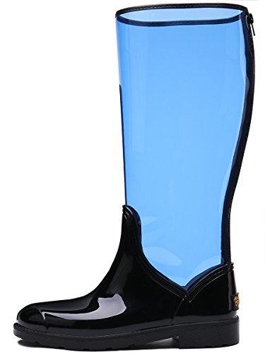Tongpu Womens Stivali Da Pioggia Trasparenti Metà Polpaccio Moda Calzature Da Pioggia Blu
