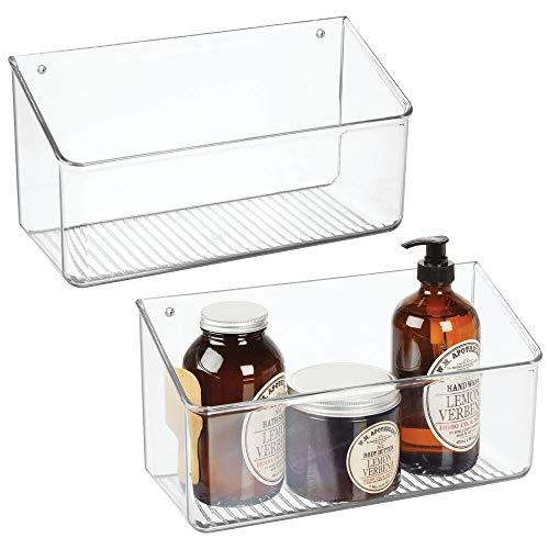 mDesign Wall Mount Plastic Home Storage Organizer Holder Basket - Hanging Bin Shelf for Walls/Doors in Entryway, Mudroom, Bedroom, Bathroom, Office, Laundry, Kitchen, Pantry, Large, 2 Pack - -