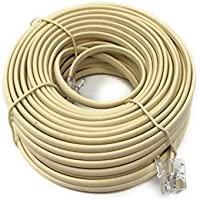 RJ11 6P4C Modular Telephone Extension Cable Phone Cord Line Wire (50 Feet, Beige)