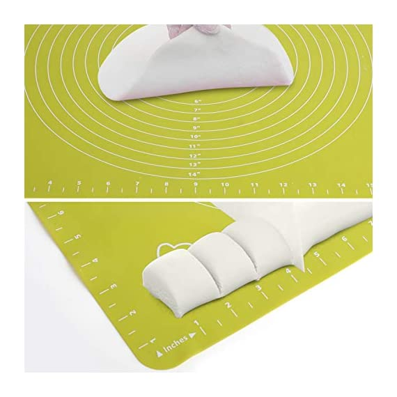 Silicone Baking Mats Pastry Mat - with Measurements BPA Free, Heat Resistant, Non Stick Pastry Board Rolling Dough Silicone Mat for Baking Bread Pizza Cookie Pie 7 PREMIUM QUALITY & FOOD SAFE: This silicone baking mats is made of FDA approved,100% food grade silicone, BPA free and no peculiar smell. Uomay baking mat can guaranty your food safe.Perfect cooking & baking accessories for any kitchen HEAT RESISTANCE & VERSATILITY MAT: This pastry mat Resists temperatures from -40°F to 450°F ,can be used in oven. Baking mats with measurements, scale in cm and inches. 15.7''*19.7''*0.05''Large Baking Mat Ideal for Kneading, Rolling, and Shaping Breads, cake, Pastry, Pie Crusts and fondants NON-STICK & EASY TO CLEAN: This non-stick baking mat will never tarnish, no more scrapping dough or fondant off the worktop when kneading or rolling on the mat.After your use,simply wash your pastry mat with warm soapy water or place in the dishwasher to clean