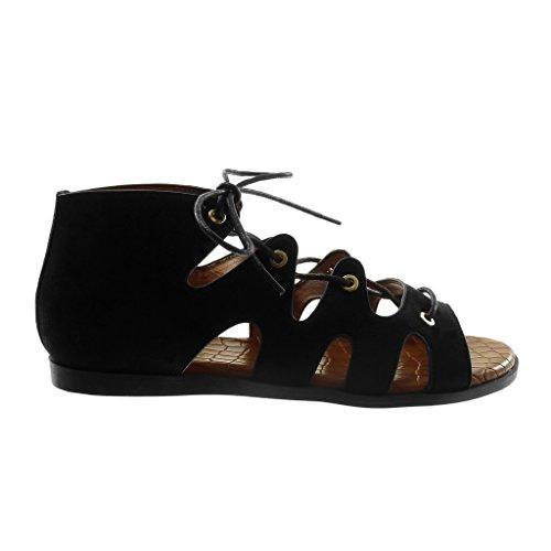 Sandale 1 Noir Croco Cm Angkorly Femme Montante Mode Talon Spartiates Plat Lacets Chaussure ETxvwAqO4
