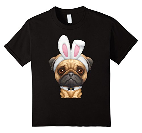Kids Pug in the Easter Bunny Costume T-Shirt 4 Black (Cute Pugs In Costumes)
