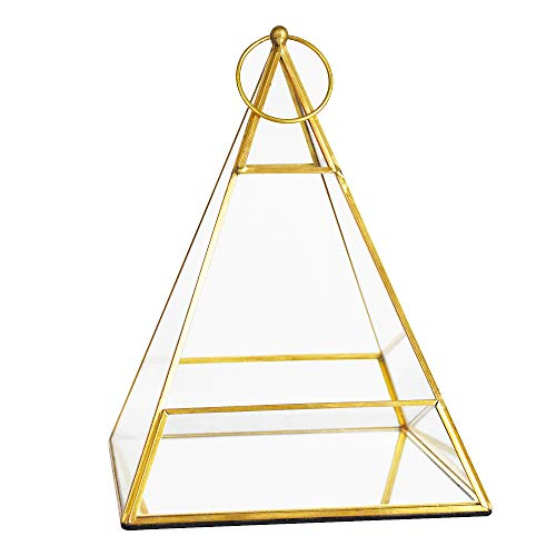Banord Gold Tabletop Geometric Terrarium Container Metal & Glass Hanging Air Planter Candle Lantern Holder DIY Display Box for Succulent Jewelry Wedding Decor Flower (11.5