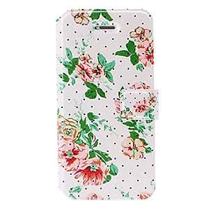 Pequeñas flores frescas serie de casos de cuero del punto con ranuras de soporte y tarjeta para el iphone 5/5s