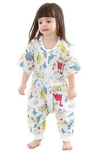 Saco de dormir para bebé con pies de verano - manta de muselina con patas para niños pequeños, saco de dormir con media manga 0,5 tog: Amazon.es: Bebé
