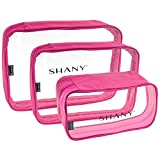 SHANY Clear Cosmetics Organizer 3-Piece Set - Transparent Makeup Toiletry Bag - Assorted Make Up Storage Bags - Set Of 3 - PINK