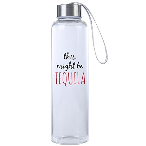 """This Might Be Tequila"" Funny Premium Glass Water Bottle 20oz, BPA Free, Secure Cap with Carry Strap, The Perfect Gift and Workout Water Bottle by Mad Style"