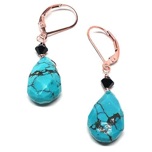 Turquoise Beveled Flat Teardrop Lever Back Earrings Rose Gold-Filled Swarovski (Rose Gold Turquoise Earrings)