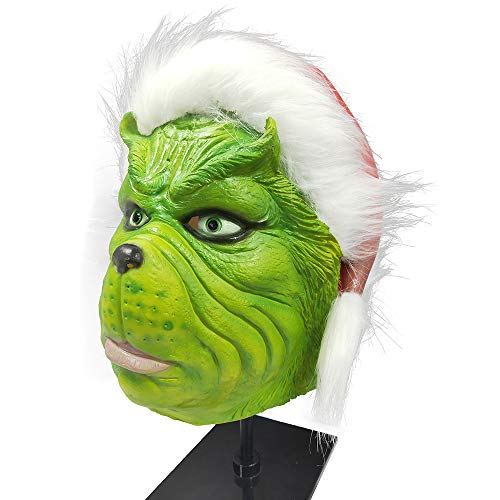 ZhaoXin Grinch Mask Cosplay Costume for Christmas Latex Full Head Mask with Green Fur (Classic -