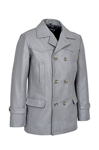 Men's KRIEGSMARINE Grau Farbe German DR WHO WW2 UBoat Reefer Genuine Hide Leather Jacket Coat