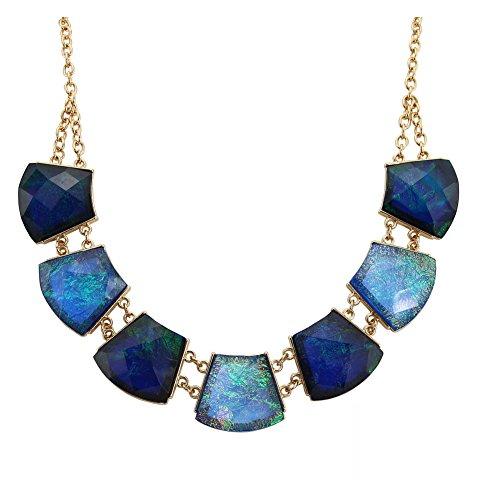 TrinketSea Statement Bib Necklaces for Women Trapezoid Block Charm Geometric Cut Turquoise Blue Tone Bib