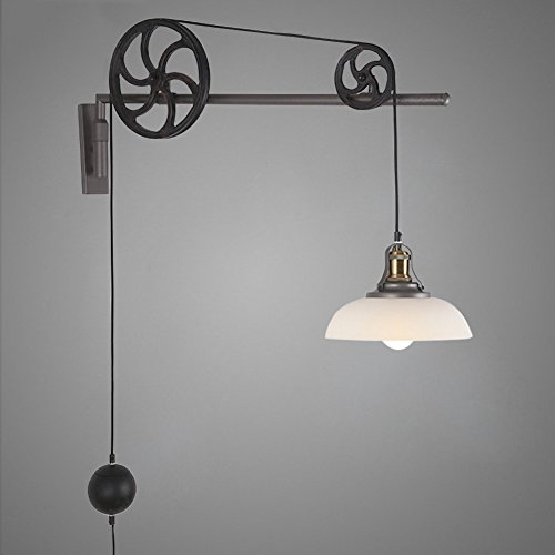 JINGUO Lighting Adjustable Iron Pulley Light Fixture Wall Lights Wall sconce in Industrial Vintage Style with White Dome Shade for Living Room Restaurant Barn Cafe (Kalco Copper Table Lamp)