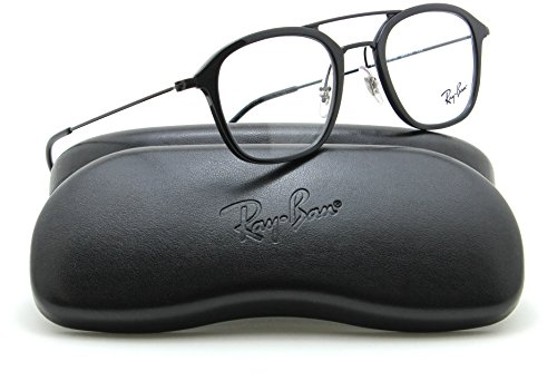 Ray-Ban RX7098 Square Unisex Prescription Eyeglasses 5725 - - Ray Black And Eyeglasses Ban Red