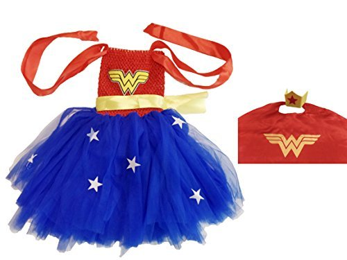 Wonder Woman Tutu Child Costume (KeenoMommy Wonder Costume with Cape and Head Piece for kids)