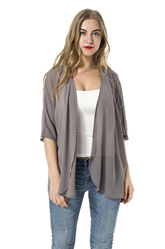 (Women's Short Sleeve Beachwear Sheer Chiffon Kimono Cardigan Solid Casual Capes Beach Cover up Blouse (Lightgrey, L) )