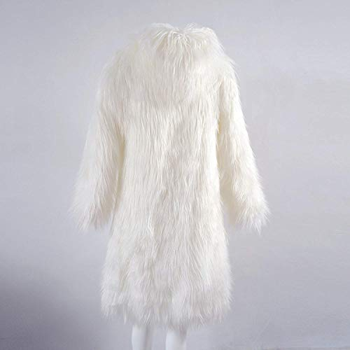 Lanoso Chic Qualità Moda Elegante Caldo Accogliente Giacca Lunga Invernali Alta Bianca Monocromo Manica Donna Cappuccio Ragazza Party Con Pelliccia Giacche Transizione Di USWO8