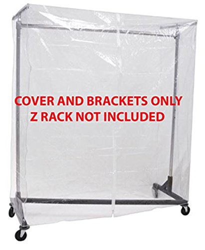 Display Cover - Clear Z Rack Cover with Zipper and Square Tube Bracket Combo Kit for Standard, Professional or Deluxe 5' Wide Z Racks (Z Racks Sold Separately)