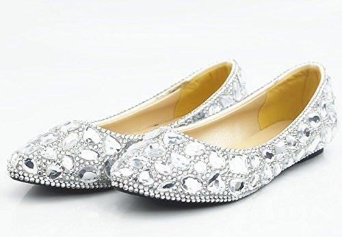 CSDM DONNE Scarpe da sposa Scarpe di cristallo pieno di pietra preziosa bianca scarpe di abito da sposa scarpe piane fatte a mano , flat reservation , 42