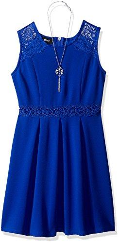 Amy Byer Girls' Big Sleeveless Dress with Box Pleats and Illusion Waist, neon Cobalt, 7 (Cobalt Box)