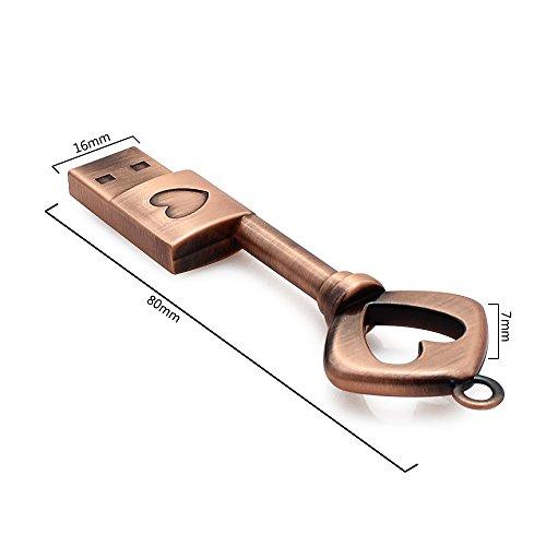 CHUYI Metal Heart Key Shape 16GB USB 2.0 Flash Drive Pen Drive Memory Stick USB Flash Disk Thumb Drive Christmas Gift by CHUYI (Image #5)