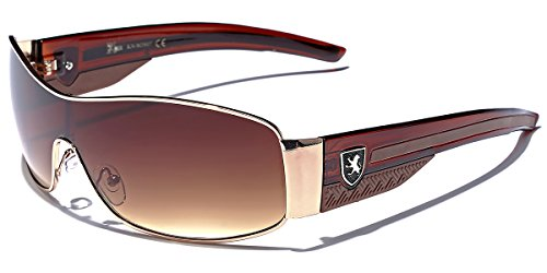 Khan Metal Wire Rim Frame Men's Sport Shield Sunglasses - Gold & Brown