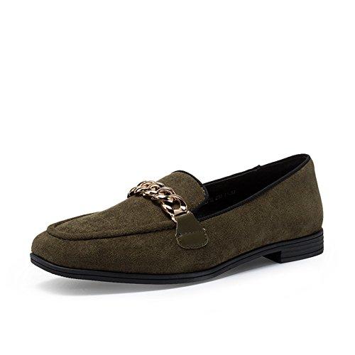 Ladies Autumn Low Heel Schuhe,Square Heel Set Foot Flachen Mund Schuhe C