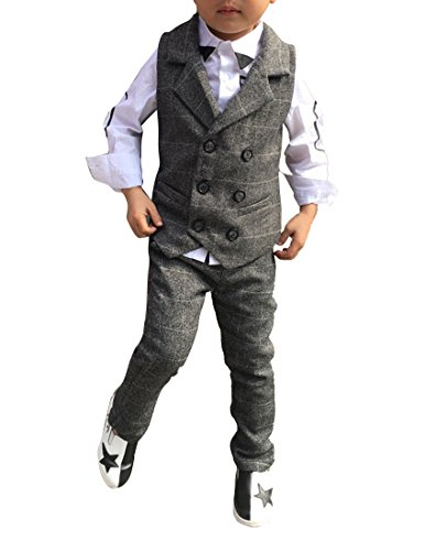 Boys Double Breasted Notch Lapel Gray Vest and Pants Set with White Grid (4T, Gray) (Vest Lapel Notch)