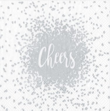 Cocktail Napkins Wedding Napkins Christmas Party Holiday Party Office Party Ideas Silver Cheers Pk 40]()