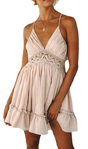 Backless Mini Sexy Swing Straps Womens Neck Spaghetti Summer Dress Jaycargogo Pink V BwxYqz0xp