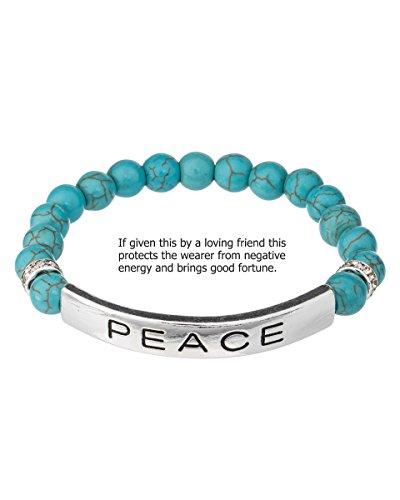 Jewelry Nexus Blue Beads Peace Friendship Silvertone Stretch Bracelet & Crystals Stretch (Best Jewelry Nexus Friend Friendship Bracelets)