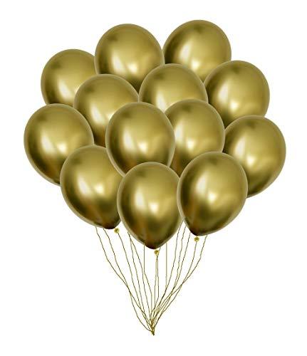 (Party Balloons 50pcs 12'' Inch Shiny Gold Chrome Metallic Helium Latex Balloons Wedding Birthday Decorations)