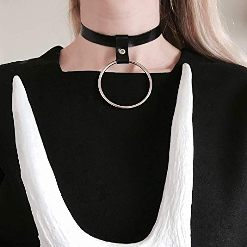 ed5275eef0089 HOMELEX 90s Gothic Metal O-Ring Black Leather Collar Necklace Choker for  Girls(LN58)