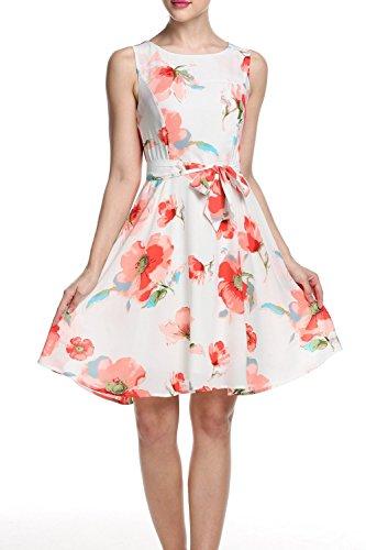 Yisqzjzj Sleeveless A-line Pleated Dress With Belt Red FloralMedium