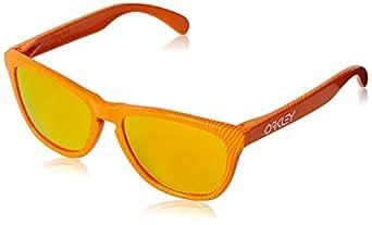 Oakley Men's Frogskins Atomic Orange Fingerprint/Fire Iridium Sunglasses  One Size