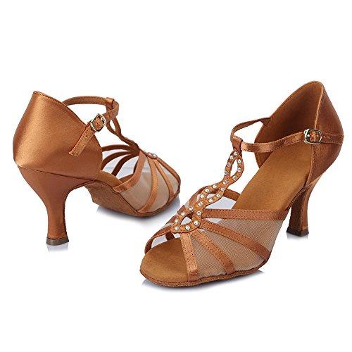 Roymall Dames Satijnen Latin Dansschoenen Met Strass Balzaal Salsa Tango Performance Schoenen, Model Af449 Bruin