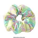 Pastel Stripes Easter Bunny Scrunchie Hair Tie, Easter Rabbit Scrunchy Hair Tie, Bunnies Scrunchys