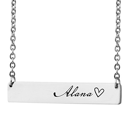 HUAN XUN Personalized Bar Custom Name Necklace Alana Personal Womens Jewelry Birthday Gift