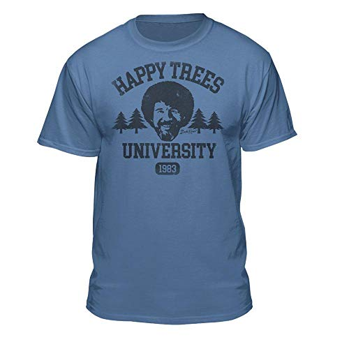 Bob Ross Happy Trees University Licensed T-Shirt (Large, Columbia Blue)