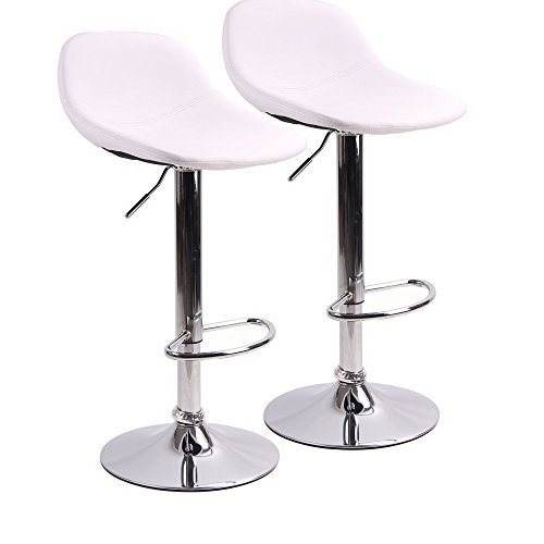 Adjustable Swivel Barstools with Back for Home Bar Kitchen Counter, New Modern White PU Leather Hydraulic Bar Chair-Set of 2