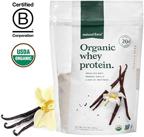 Natural Force® Organic Whey Protein Powder 13.8 oz.*Premium Unflavored* A2 Grass Fed Whey Protein Concentrate – Ranked #1 Best Organic Whey - Certified Keto, Paleo Friendly, Non-GMO and Humane