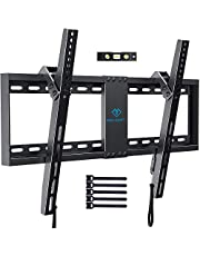 """PERLESMITH Tilt Low Profile TV Wall Mount Bracket for Most 32""""-70"""" LED, LCD, OLED and Plasma Flat Screen TVs - Holds up to132lbs, with VESA up to 600 x 400mm,Fits 16-24""""Wood Studs,HDMI Cable Included"""