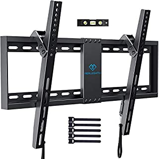 """PERLESMITH Tilt Low Profile TV Wall Mount Bracket for Most 32-82 inch LED, LCD, OLED and Plasma Flat Screen TVs - Fits 16""""- 24"""" Wood Studs, Tilting TV Mount with VESA 600 x 400 Holds up to 132lbs"""
