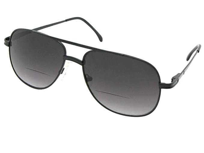 0c79562981 Amazon.com  Men s Square Aviator Bifocal Sunglasses With Nose Bridge  Padding Style B50 (Black Frame-Non Polarized Gray Lens