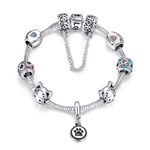 Bracelet Charm Animal - Ronglai Jewelry Puppy Dog Charm Bracelet Love Heart Charm Bracelet Pink Enamel Lucky Clover Charm Bracelet for Teens Girl (Dog paw bracelet)